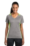 Women's Heather Colorblock Contender V-neck Tee Vintage Heather with Lime Shock Thumbnail
