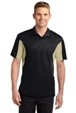 Side Blocked Performance Micropique Polo Shirt Black with Vegas Gold Thumbnail