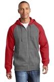 Raglan Colorblock Full-Zip Hooded Fleece Jacket Vintage Heather with True Red Thumbnail