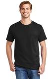Tagless 100 Comfortsoft Cotton T-shirt With Pocket Black Thumbnail