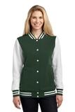 Women's Fleece Letterman Jacket Forest Green with White Thumbnail