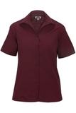 Women's Easy Care Poplin Shirt SS Burgundy Thumbnail