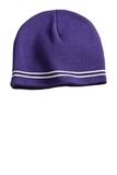 Sport-tek Spectator Beanie Purple with White Thumbnail
