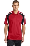 Tricolor Micropique Color Block Polo True Red with Black and White Thumbnail
