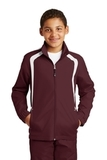 Youth Colorblock Raglan Jacket Maroon with White Thumbnail