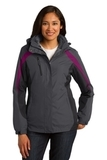 Women's Colorblock 3-in-1 Jacket Magnet with Black and Very Berry Thumbnail