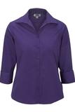 Women's Easy Care Poplin Shirt 3/4 Sleeve Purple Thumbnail