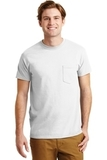 Ultra Blend 50/50 Cotton / Poly T-shirt With Pocket White Thumbnail