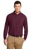 Silk Touch Long Sleeve Polo Shirt Burgundy Thumbnail