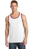 5.4 oz. 100% Cotton Tank Top White with Red Thumbnail