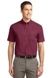 Tall Short Sleeve Easy Care Shirt Burgundy with Light Stone Thumbnail