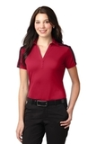 Women's Port Authority Silk Touch Performance Colorblock Stripe Polo Red with Black Thumbnail