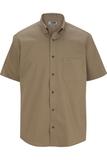 Men's Cotton Rich Short Sleeve Twill Shirt Tan Thumbnail