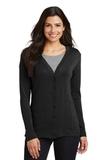 Women's Modern Stretch Cotton Cardigan Black Thumbnail