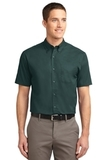 Short Sleeve Easy Care Shirt Dark Green with Navy Thumbnail