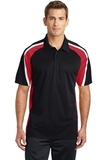 Tricolor Micropique Color Block Polo Black with True Red and White Thumbnail