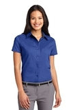 Women's Short Sleeve Easy Care Shirt Royal with Classic Navy Thumbnail