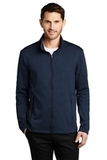 Collective Striated Fleece Jacket River Blue Navy Heather Thumbnail