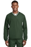 Tipped V-neck Raglan Wind Shirt Forest Green with White Thumbnail
