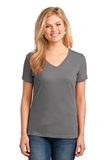 Women's 5.4-oz 100 Cotton V-neck T-shirt Medium Grey Thumbnail