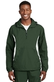 Colorblock Raglan Anorak Forest Green with White Thumbnail