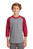 Youth Colorblock Raglan Jersey Heather Grey with Red Thumbnail