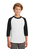 Youth Colorblock Raglan Jersey White with Black Thumbnail