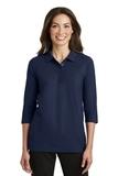 Women's Silk Touch 3/4-sleeve Polo Shirt Navy Thumbnail