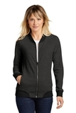 Ladies Lightweight French Terry Bomber Heather Black Thumbnail