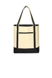 Large Cotton Canvas Boat Tote Natural with Black Thumbnail