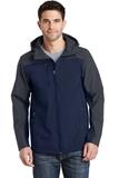 Hooded Core Soft Shell Jacket Dress Blue Navy with Battleship Grey Thumbnail