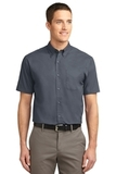 Tall Short Sleeve Easy Care Shirt Steel Grey with Light Stone Thumbnail