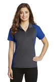 Women's Colorblock Micropique Sport-Wick Polo Iron Grey with True Royal Thumbnail