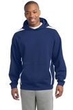 Sleeve Stripe Pullover Hooded Sweatshirt True Royal with White Thumbnail
