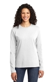 Women's Long Sleeve 5.4-oz 100 Cotton T-shirt White Thumbnail
