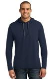 100 Ring Spun Cotton Long Sleeve Hooded T-shirt Navy with Dark Grey Thumbnail