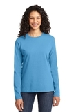 Women's Long Sleeve 5.4-oz 100 Cotton T-shirt Aquatic Blue Thumbnail