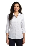 Women's 3/4Sleeve Micro Tattersall Easy Care Shirt White with Dark Grey Thumbnail
