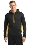 Sport-wick Fleece Colorblock Hooded Pullover Black with Gold Thumbnail