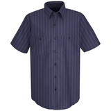 Short Sleeve Industrial Work Shirt With Stripe Blue with Brown White Stripe Thumbnail