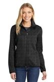 Women's Sweater Fleece Jacket Black Heather Thumbnail