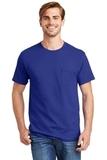 Tagless 100 Comfortsoft Cotton T-shirt With Pocket Deep Royal Thumbnail