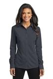 Women's Port Authority Dimension Knit Dress Shirt Battleship Grey Thumbnail