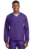Tipped V-neck Raglan Wind Shirt Purple with White Thumbnail