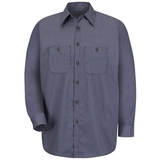 Long Sleeve Checked Industrial Work Shirt Blue Charcoal Check Thumbnail