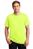 Moisture Management 50/50 Cotton / Poly Pocket T-shirt Safety Green Thumbnail