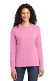 Women's Long Sleeve 5.4-oz 100 Cotton T-shirt Candy Pink Thumbnail