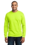 Long Sleeve 50/50 Cotton / Poly T-shirt Safety Green Thumbnail