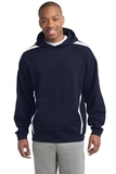 Sleeve Stripe Pullover Hooded Sweatshirt True Navy with White Thumbnail