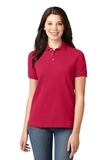 Women's Pique Knit Polo Shirt Red Thumbnail